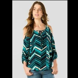 Anthropologie Chevron top open shoulder striped